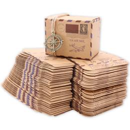suministros de boda de la vendimia Rebajas Nuevo diseño de sello Boda Vintage Caja de dulces Embalaje de chocolate Kraft Caja de regalo Favores de boda y regalos Bolsa de artículos para fiestas envío gratis