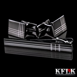 Wholesale Bar Cufflinks - KFLK High Quality Cuff links necktie clip for tie pin for mens tie bars cufflinks tie clip set Free Shipping 2017 New Arrival