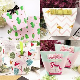 Wholesale Baby Curls - Paper Gift Bag Wedding Candy Box Unicorn Flamingo Cactus Baby Birthday Festival Unicornio Cartoon Wrap With Bow 0 5ch VV