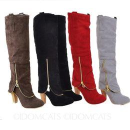 Chaussures de loisirs de mode satisfaisantes, noir / marron / gris / rouge Corée Vintage Womens Suede Booties dames d'hiver bottes au genou Block Heel Sho ? partir de fabricateur