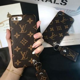 Wholesale leather painting - Case for iphoneX 7 8 plus Painted matte phone case for apple iphone6 6S plus luxury brand with Pendant