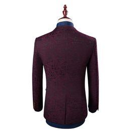 Wholesale Tuxedo Wine - MEETBUD Brand men suit wedding business casual slim fit party groom host wine red color jacquard men suits dress 3 pieces