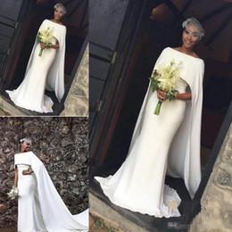 Wholesale Cape Dresses For Girls - 2018 Latest White Satin Mermaid Wedding Dresses Black Girl With Cape Zipper Back Arabic Bridal party Gowns For Beach Vestidos De Novia