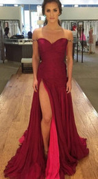 Wholesale Chiffon Sweetheart Bling Long Dress - Fashion High Slit Burgundy Prom Dresses 2018 Cheap Long Chiffon Off the shoulders With Bling Beaded Pleated Red Celebrity Evening Dress