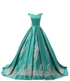 2018 Venda Quente Fora Do Ombro Quinceanera Vestidos de Cetim Turquesa Prom Longo Vestido de Baile Doce 16 Vestidos Com Apliques de Renda de