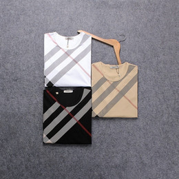 Wholesale plaid shirts short sleeve - Europe T American Fashion Striped Plaid Print Mens T-shirts Tshirt Luxury Shirts Designer Short Sleeve Male Clothes