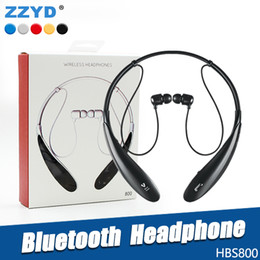 Wholesale Handfree Bluetooth - ZZYD HBS800 Wireless Bluetooth Headphone Sport Stereo Neckbands Handfree earphone For Samsung S8 HTC without logo With retail Box