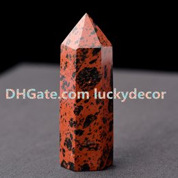 Pietre lucide nere online-Rara mogano ossidiana pietra levigata terminata con bastoncino bacchetta sacrale Chakras roccia vulcanica naturale rosso nero gemma campioni di campioni minerali