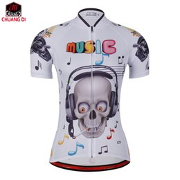 Wholesale women athletic clothing - Music skeleton Athletics personality women's Cycling Jerseys Bicycle Short Sleeve cycling clothing free shipping Tops