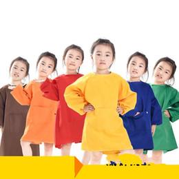 Chemisier de peinture en Ligne-Enfants Peinture Tabliers Maternelle Inverser Dressing Blouse Étanche Enfants Manches Longues Polyester Fiber Smock Haute Qualité 9 5sk Ww
