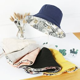 hat cans Coupons - 10pcs lot 01808-jiu8762 both can wear Hawaiian style flowers leisure lady bucket cap woman sun fishmen hat wholesale