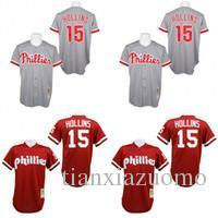 ecce9698c48 Red Grey 1991 Dave Hollins baseball Jersey , Men's #15 Mitchell And Ness  Pia Phillies discount mitchell ness baseball jerseys
