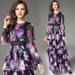 Wholesale Ladies Chiffon Style Dresses - Spring 2018 New High-End Flora Printed Dress Women Fashion Slim Long Sleeve Vintage Skirt Female Grace Party Large size XXL clothes Lady