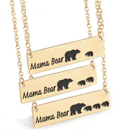 Wholesale Fast Bearings - Mama Bear Necklace Silver Gold Plated Alloy Animal Pendant Necklace Mother's Day Gift Birthday Fast Free Shipping
