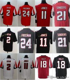 2018 negro camiseta de julio jones Camisetas de los Atlanta Falcons de los hombres Ridley 11 Julio Jones 2 Matt Ryan 24 Devonta Freeman 21 Deion Sanders Home Red Black cosido Jersey ventas rebajas negro camiseta de julio jones
