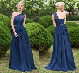 einfaches chiffon ein schulter hochzeitskleid Rabatt Marineblau 2019 Neue Einfache Günstige Brautjungfer Kleider Eine Schulter Chiffon Formale Trauzeugin Kleider Hochzeit Party Kleider Vestidos BM0148