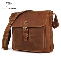 Wholesale Top Grade Handbags - Wholesale-YUESKANGAROO Top Grade Men's Vintage Real Crazy Horse Leather Briefcase Messenger Shoulder Portfolio Laptop Bag Case Handbag