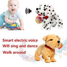2019 brinquedos de pelúcia andando Criativo Robô Inteligente Cães de Plush de Pelúcia Curto Plástico Cantar Inteligência Das Crianças Brinquedos Bark Stand Walk Interativo Eletrônico Animais de Estimação brinquedos de pelúcia andando barato