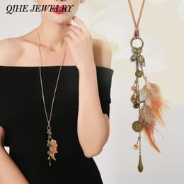 Wholesale Leaf Necklace Bronze - whole saleLong tassel necklace Bronze leather chain feather leaf skeleton wood beads charm tassel necklace Women vintage jewelry