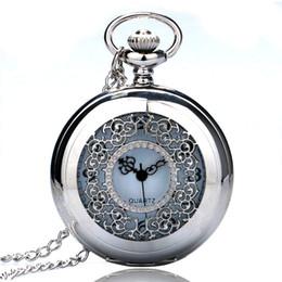 relógio de medalhão de quartzo Desconto Prata Half Hollow Flores números Dial Retro Quartz Fob Relógio de bolso Homens Mulheres Antique Clocks Reloj de bolsillo