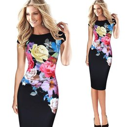 186c4b274ad Women Flower Party Bodycon Dress Summer Formal OFFICE Lady Work Elegant  Dresses