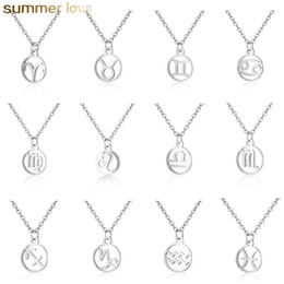 zodiac steel pendant Promo Codes - High Quality Stainless Steel 12 Zodiac Constellation Adjustable Chain Necklace for Women Round Shape Steel Color Trendy Jewelry Gift
