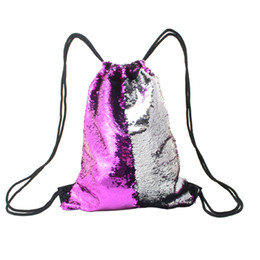 Wholesale Nylon Bucket - 50pcs Mermaid Sequins Women Backpack Glitter Drawstring Bag Cotton School Bag For Teenager Girls Summer Beach Nylon Bag Daypack