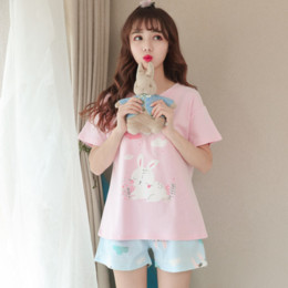 485770f9c4 cotton woman nightgown NZ - Summer 2018 Fashion Women Pajamas Cartoon  Sleepwear Two Piece Set Shirt