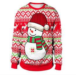Neue hässliche weihnachtsstrickjacken online-2018 neue 3D UGLY Weihnachtsstrickjacke Druck Männer Frauen Urlaub Santa Schneemann Pullover Tops Herbst Winter Mode Kleidung