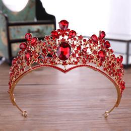 2019 coroa vermelha para a noiva Coroa de Noiva de Casamento de Cristal vermelho Crown Tiara Crown Headband Acessórios De Noiva Diadema Mariage Cabelo Jóias Ornamentos coroa vermelha para a noiva barato