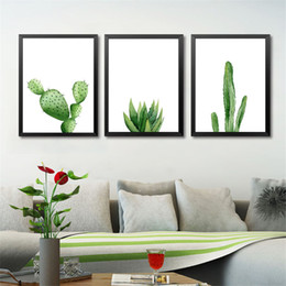 Wholesale Giclee Poster - Green Plants Canvas Art Print Poster, Cactus Set Wall Pictures for Home Decoration, Giclee Wall Decor YT0046