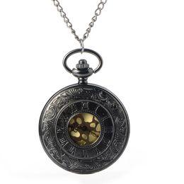 Wholesale Antique Skeleton Clocks - Black Steampunk Skeleton Quartz Pocket Watch Men Antique Luxury Necklace Pocket & Fob Watches Chain Male Clock Christmas Gift