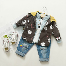 Wholesale Boys Trench - 2018 kids clothes Spring new children boys and girls baby dot printing hit hooded casual trench coat jackets
