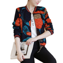 9b9a176ec0be 2017 Women Jacket Tops Flower Print Girl Plus Size Casual Baseball  Sweatshirt Button Thin Bomber Long Sleeves Coat Jackets D0391