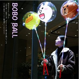 Wholesale Lighted Toy Ball - Cartoon Balloons LED Trolley Balloons With Stick Handle Lighting Transparent BoBo Ball Christmas Decorative Bright Lighter Balloons New