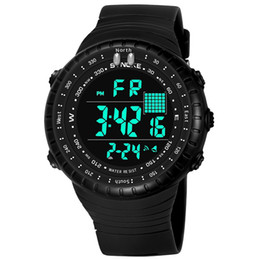 Wholesale Wrist Stop Watches - Sport Men Watch led Alarm Calendar LED Wrist Watches for Boy Electronic Clock Stop Watch montre homme Digital Dropshipping