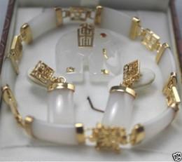 Wholesale Jade Pearl Pendant - Jewelry White jade pendant necklace earring bracelet set+ chain