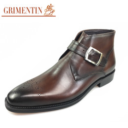 Wholesale black boots buckle mens - GRIMENTIN 2018 Newest style Italy designer mens ankle boots genuine leather handmade carved luxury retro formal business men shoes 2JM8-2