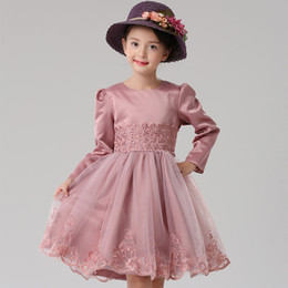 Wholesale Sleeved Formal Gowns - Toddler girl dresses Children new girl long - sleeved dress girls lace princess dress children autumn and winter dress