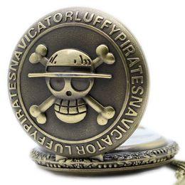 Peças de relógio de bolso on-line-Antique Vintage Retro Bronze Crânio Pirata One Piece Quartz Pendent Pocket Watch Pocket