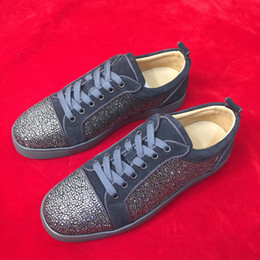 rhinestone spikes studs Australia - New Men Women Sneakers Genuine Leather Rhinestone stud Red Bottom Spikes Causal Shoes, Fashion Lovers Luxury Designer Flat Lace-up Shoes
