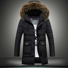 Wholesale Mens Jackets Canada - New mens winter jackets coats youth Korean version slim thicken canada cotton down jacket fur collar large size 4XL men outdoor jacket coat