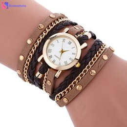 Wholesale Ladies Vintage Gold Watches - Vintage Wrap Around Women Bracelet Watches Fashion Punk Style Lady Woman Analog Quartz Wrist Watch Clock reloj mujer relogio