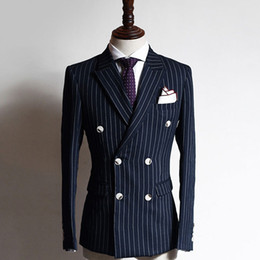 Gipfeljacke online-Navy Grid Business Formale Männeranzüge Suits Double Breasted Peared Revered Two Piece Custom Made Bräutigam Hochzeit Smoking (Jacke + Hose)