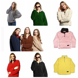 Wholesale Winter White Plush Coat - 13 Colors Sherpa Pullover Women Winter Autumn Fleece Sweatshirt Zipper Coats Casual Plush Sweatshirts Zipper Coats 1pcs AP177