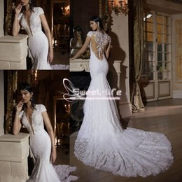 Wholesale Pink Tulle Layered Wedding Dress - 2018 Berta Lace Wedding Dresses Sexy Mermaid Beaded V neck Illusion Bridal Dresses Sweep Train Layered Short Sleeves Appliques Wedding Gowns