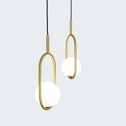 Canada Anneau de fer moderne pendentif lumières boule de verre blanche CafeRoom / Bar lampe Simple pendentif en verre Lampes Décoration Éclairage Intérieur E27 Offre