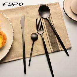 set da pranzo nero Sconti Set di stoviglie di marca Solid Fypo Set di posate da tavola in acciaio inossidabile nero arcobaleno nero dorato con coltello a forchetta per hotel da cucina domestica