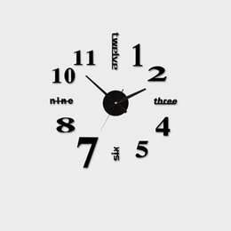 Wholesale Wall Clock Diy Numbers - Wholesale- Acrylic Best Home Decoration DIY Wall Clock Unique Large number Stickers Self Adhesive home Decor Modern Wall Clocks
