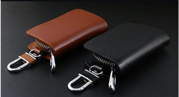 Wholesale Alarm Key Fobs - Key chain Bag Oval Genuine Leather Ring Holder Case Car Auto Coin Universal Remote Smart Key cover Fob Alarm Security Zipper keychain Wall